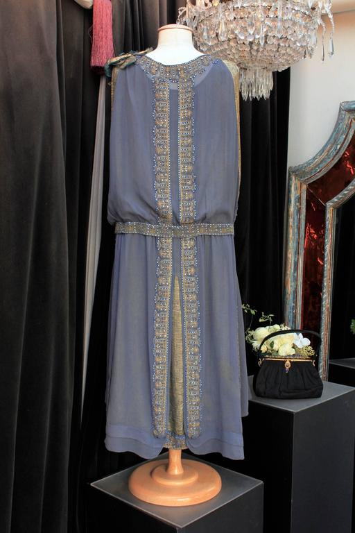 Gray 1920s Night Blue and Goldtone Lame Dress For Sale