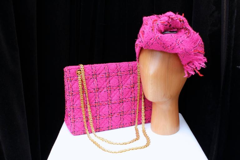 1990s Chanel Pink Tweed Bag and Matching Scarf 2