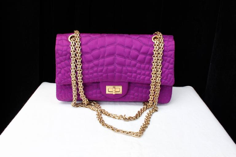 2000s Chanel 2-55 Purple Satin Shoulder Bag with Crocodile Pattern 2