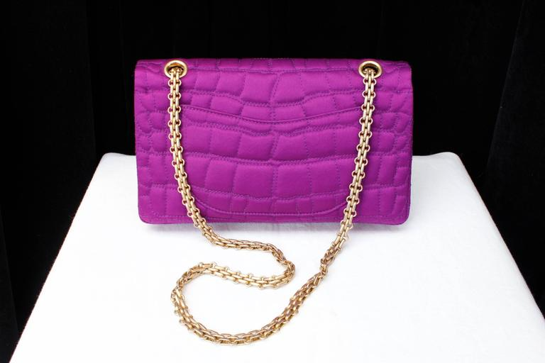 2000s Chanel 2-55 Purple Satin Shoulder Bag with Crocodile Pattern 4