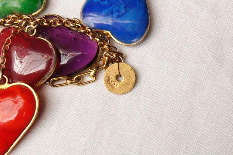 Yves Saint Laurent multicolor glass paste hearts necklace, 1960s  For Sale 1