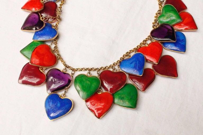 Women's Yves Saint Laurent multicolor glass paste hearts necklace, 1960s  For Sale