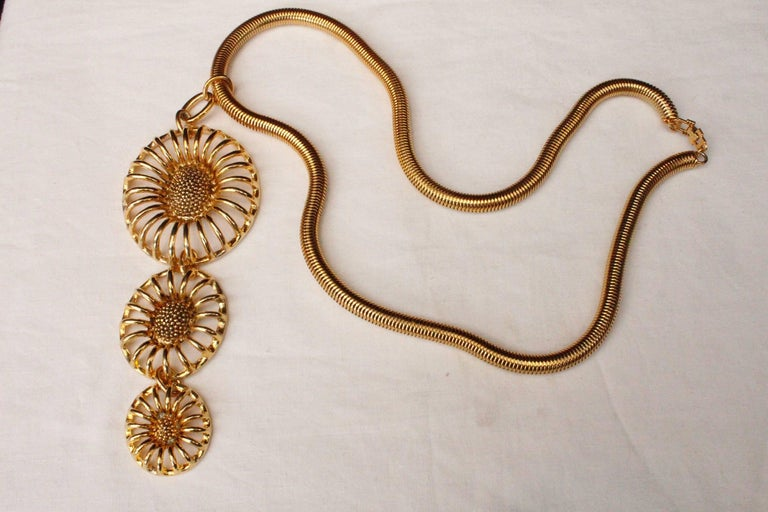 Art Deco 1990s, Lanvin gilded metal and flowers necklace  For Sale