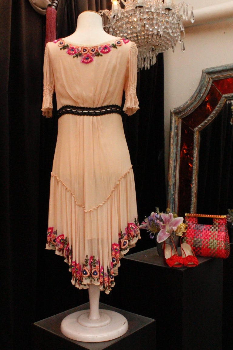 Beige 2000s, John Galliano light pink silk dress with flowers embroideried  For Sale