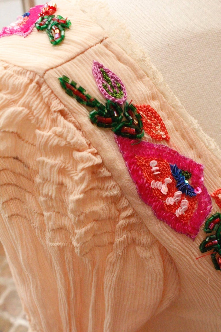 Women's 2000s, John Galliano light pink silk dress with flowers embroideried  For Sale