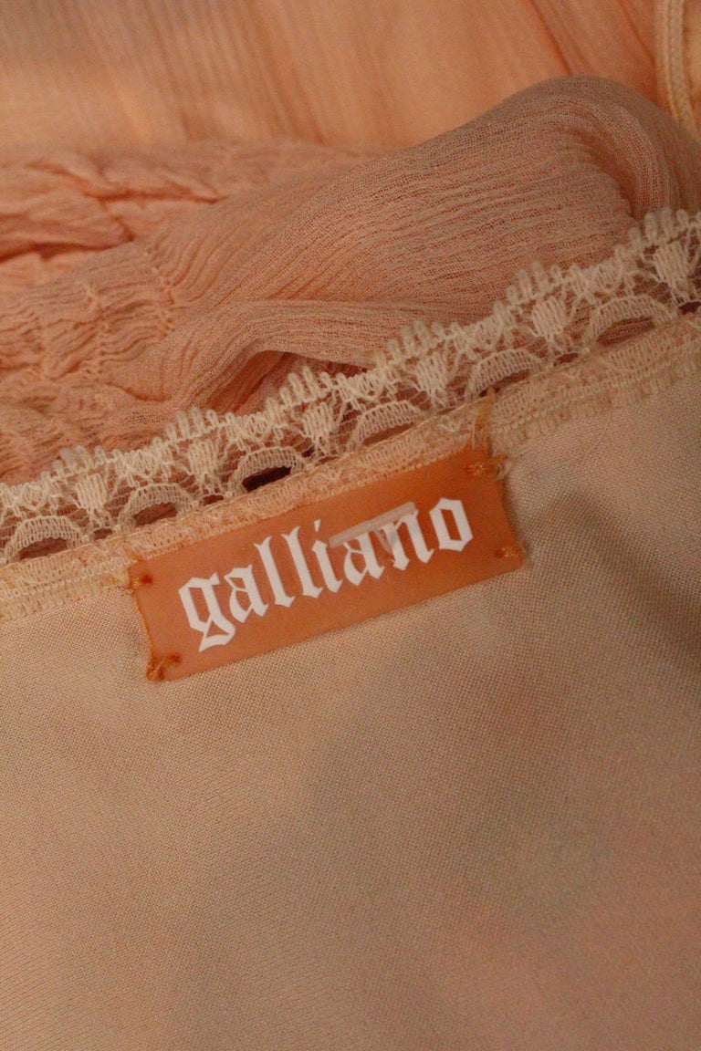 2000s, John Galliano light pink silk dress with flowers embroideried  For Sale 5
