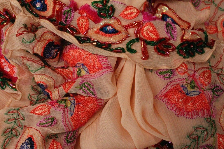 2000s, John Galliano light pink silk dress with flowers embroideried  For Sale 3