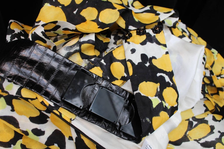 Women's 1980s, Christian Lacroix yellow, black and white organza puffy dress For Sale