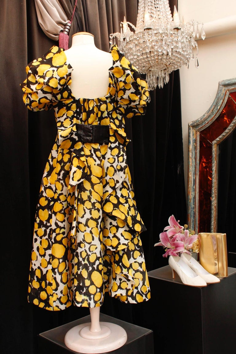 Beige 1980s, Christian Lacroix yellow, black and white organza puffy dress For Sale