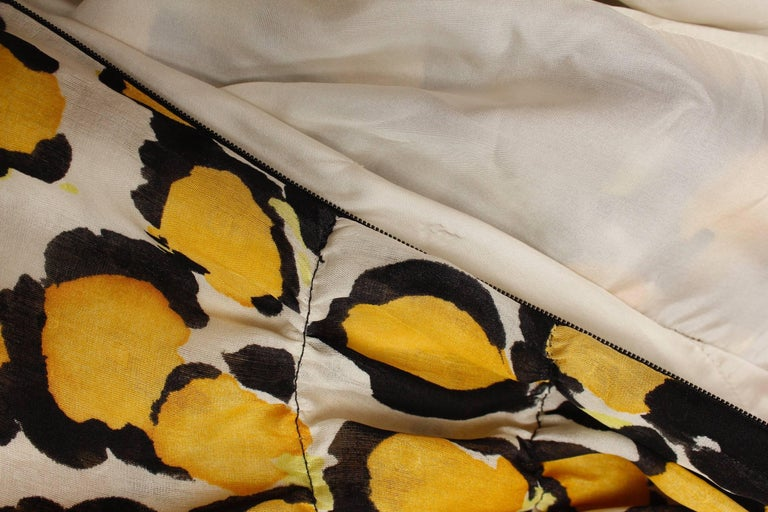1980s, Christian Lacroix yellow, black and white organza puffy dress For Sale 2