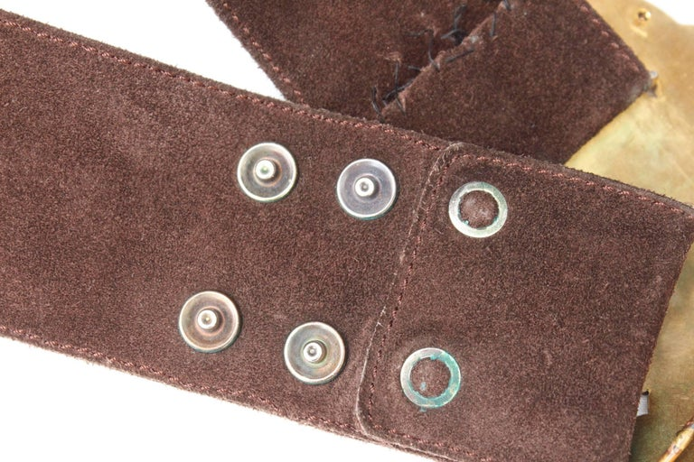 1970s Yves Saint Laurent wide brown suede belt with butterfly buckle For Sale 1