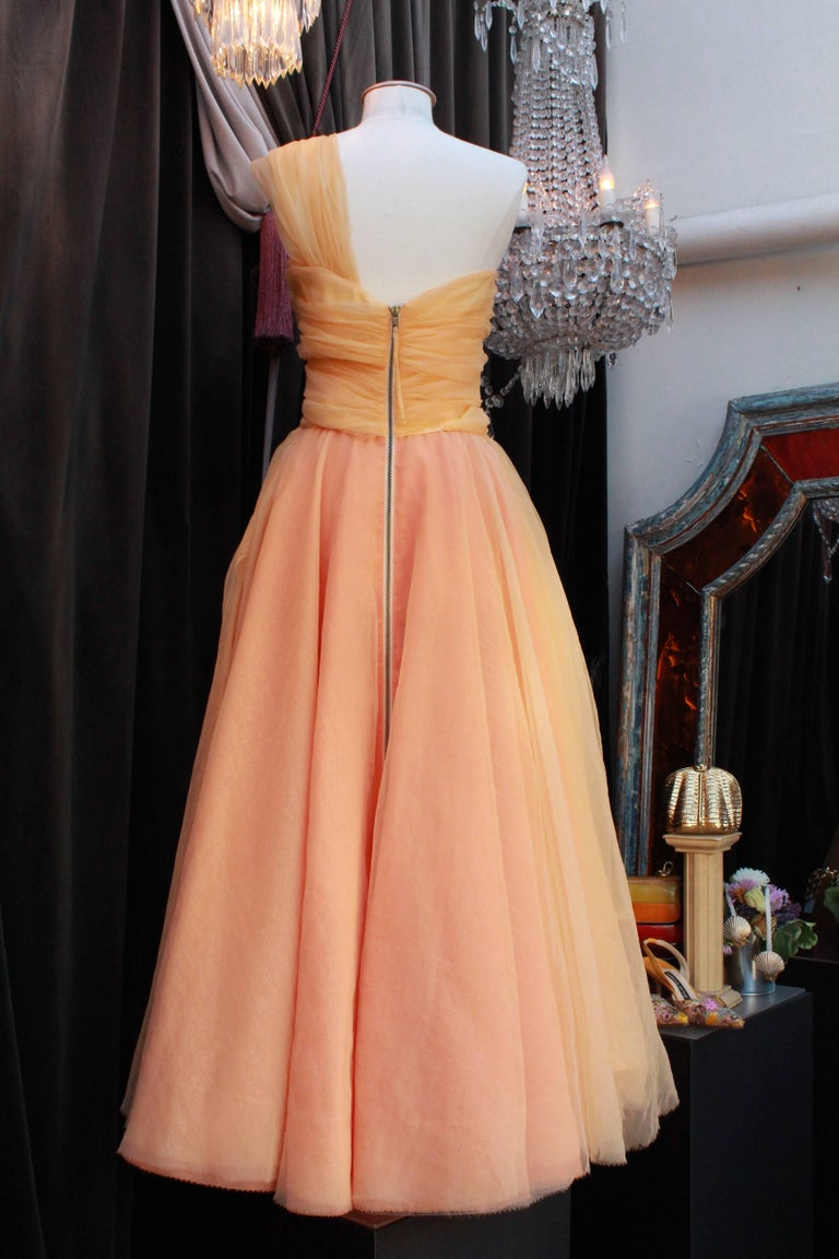 Orange Jean Paul Gaultier long silk bustier dress with flounces in peach tones, 1990s  For Sale