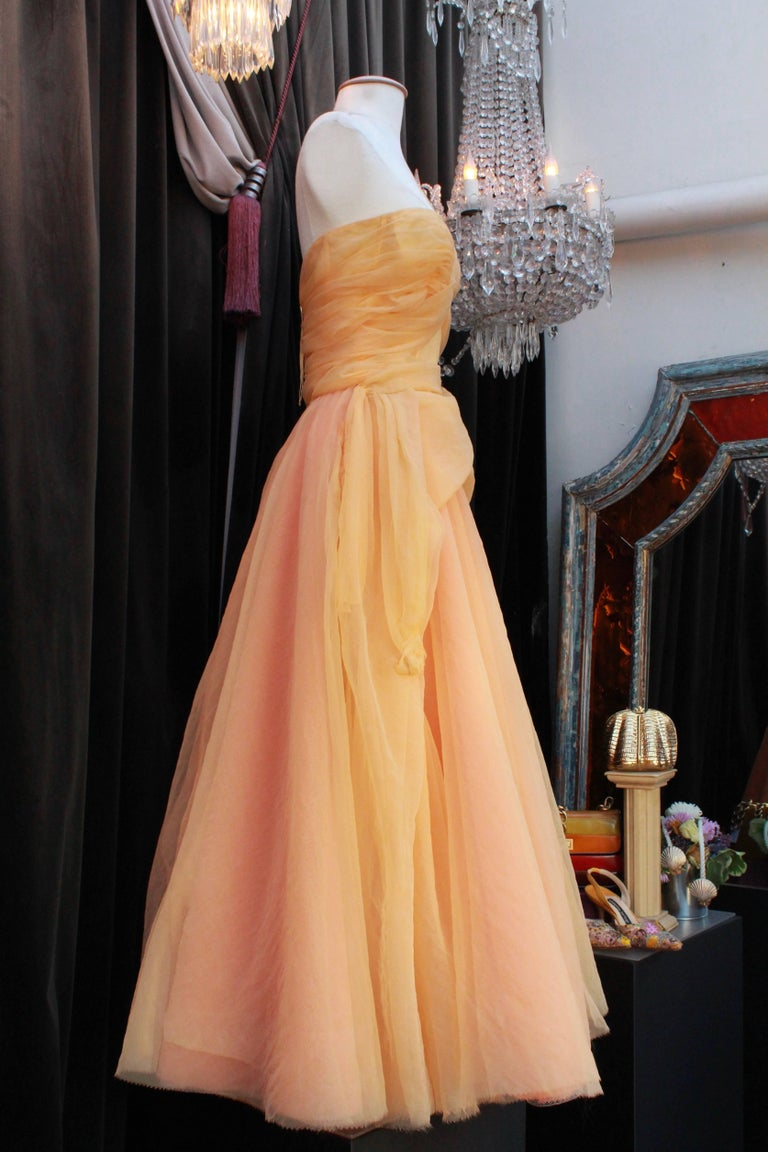 Jean Paul Gaultier long silk bustier dress with flounces in peach tones, 1990s  In Good Condition For Sale In Paris, FR