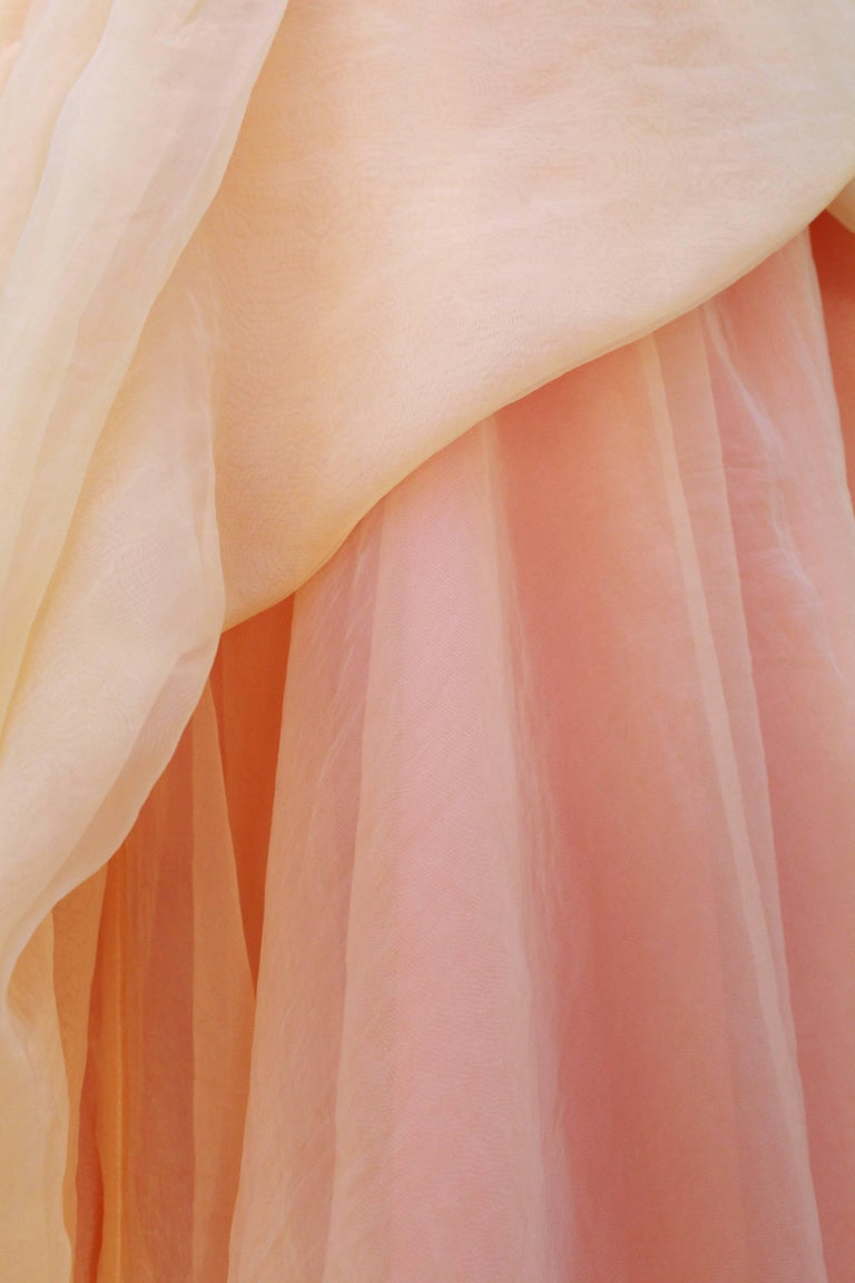 Jean Paul Gaultier long silk bustier dress with flounces in peach tones, 1990s  For Sale 1