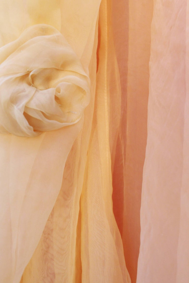 Jean Paul Gaultier long silk bustier dress with flounces in peach tones, 1990s  For Sale 2