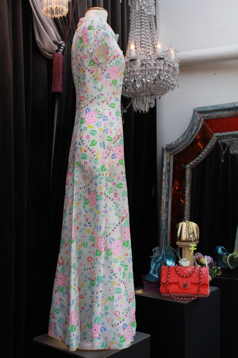 Women's Chanel long dress in floral print silk, 1996  For Sale