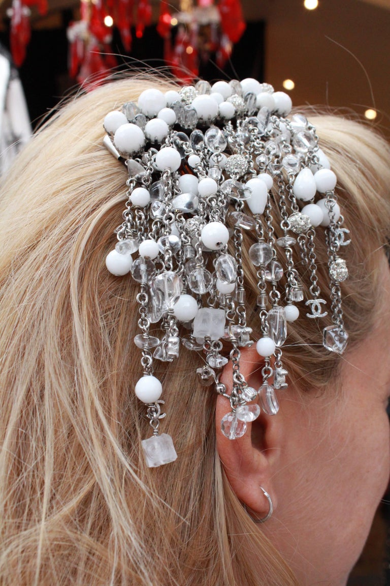 Black 2010s Chanel hair comb embellished with white beads, crystal and rhinestones For Sale