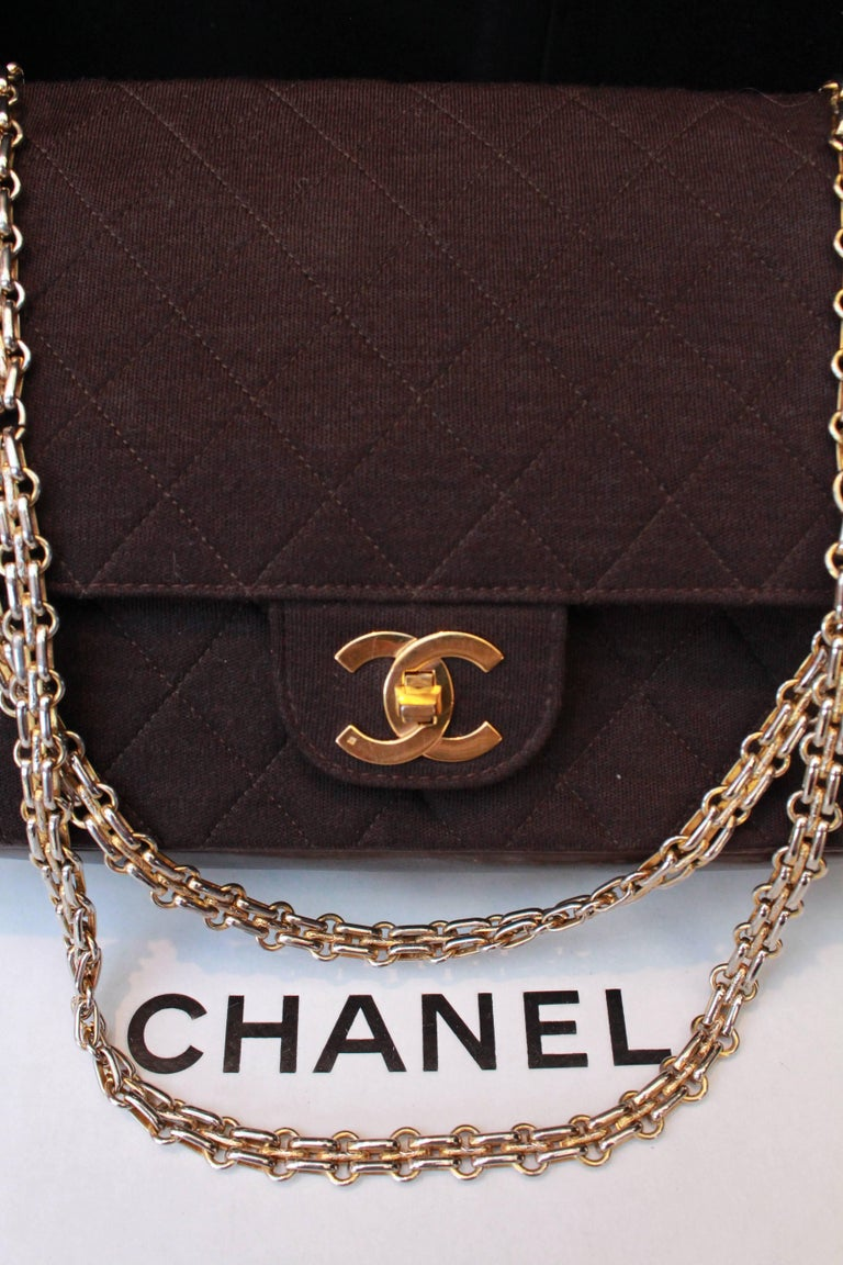 "1970-1980s Chanel ""Timeless"" brown bag For Sale 2"