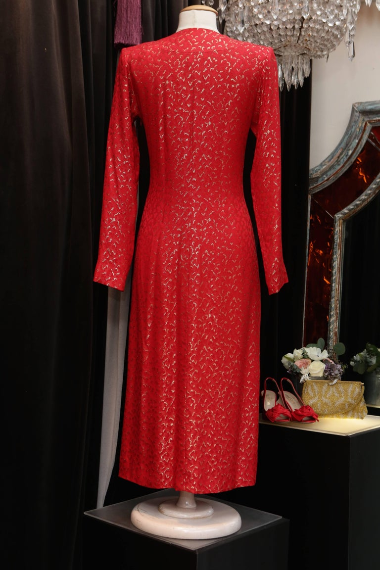 1993 Spring-Summer Collection, Yves Saint Laurent red and gold cocktail dress In Excellent Condition For Sale In Paris, FR