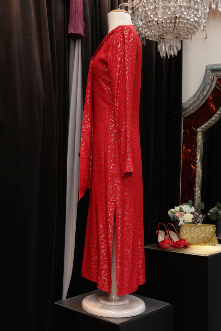 Red 1993 Spring-Summer Collection, Yves Saint Laurent red and gold cocktail dress For Sale