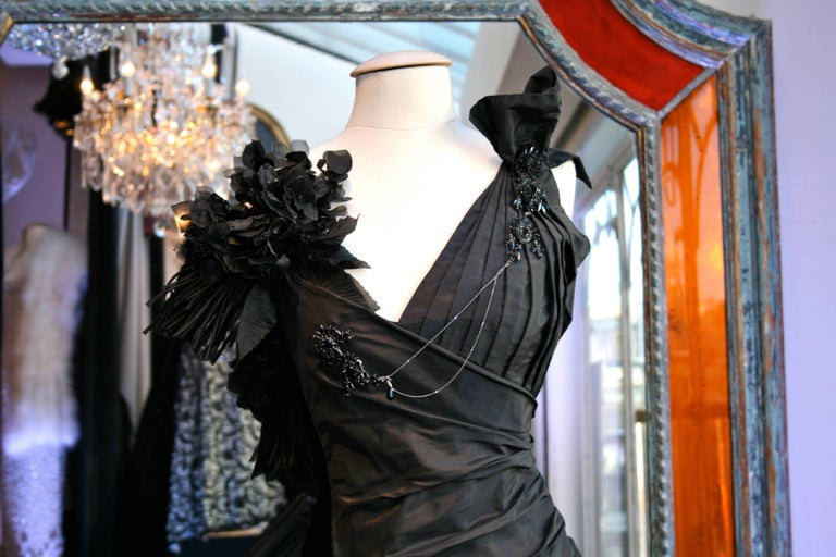 Women's Torrente Haute Couture black taffeta jewel dress For Sale