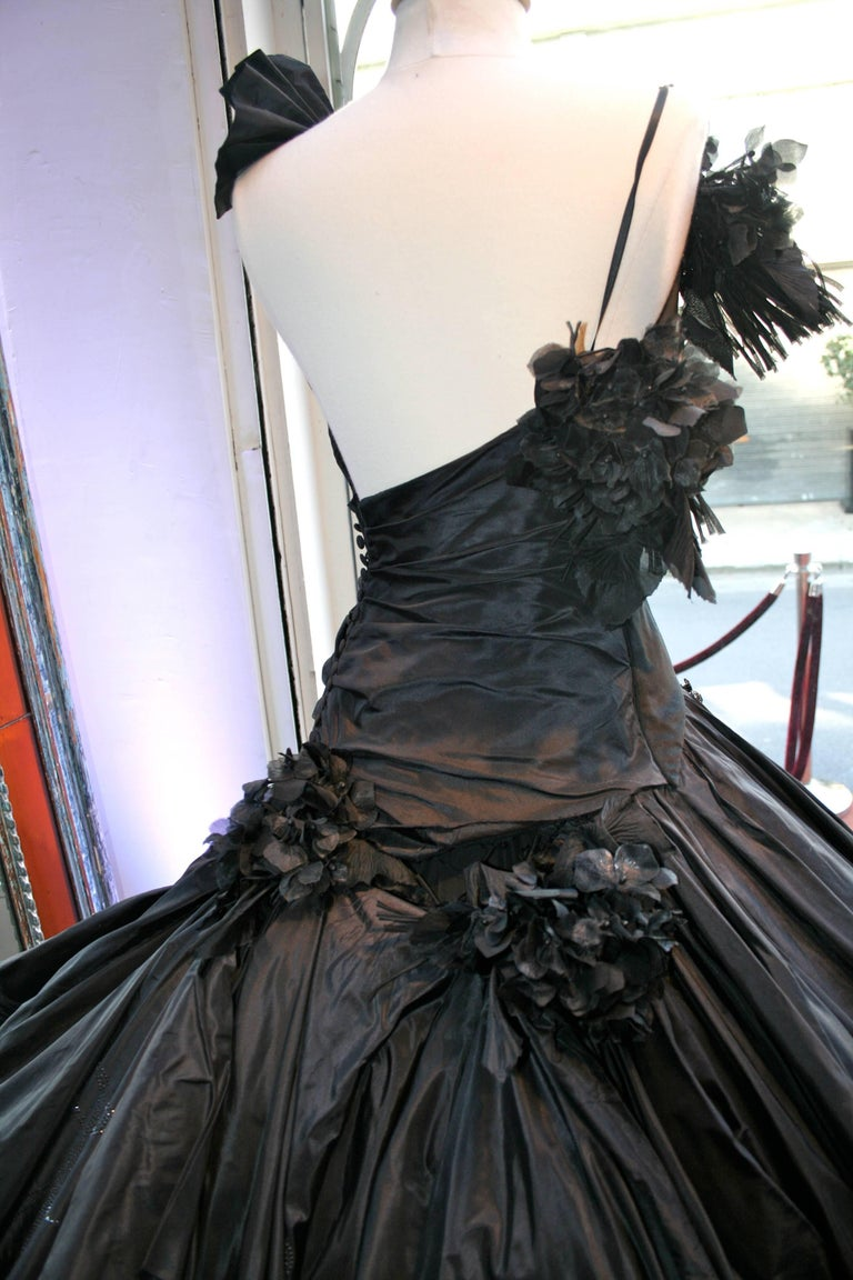 Torrente Haute Couture black taffeta jewel dress For Sale 1