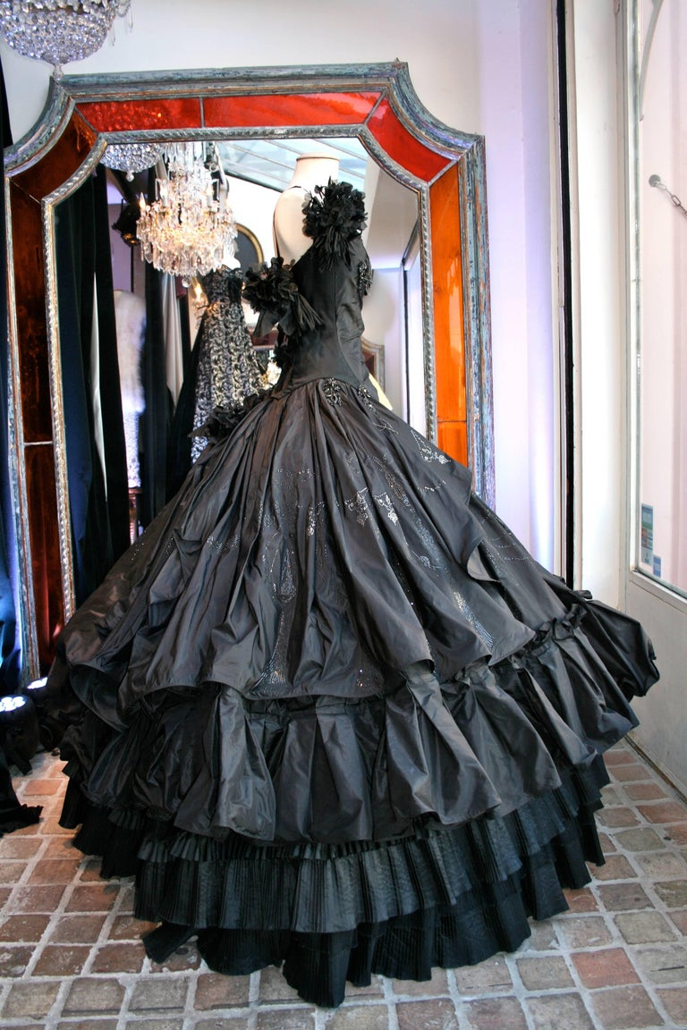 Black Torrente Haute Couture black taffeta jewel dress For Sale