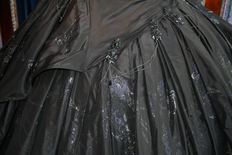 Torrente Haute Couture black taffeta jewel dress For Sale 3