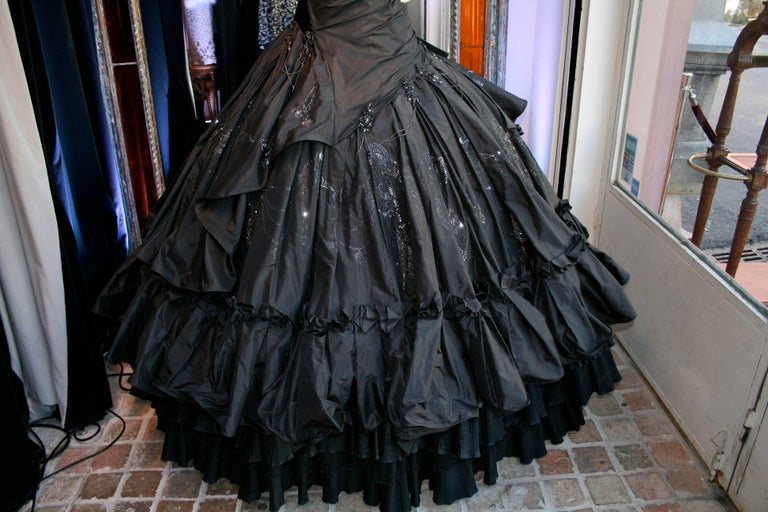 Torrente Haute Couture black taffeta jewel dress In Good Condition For Sale In Paris, FR