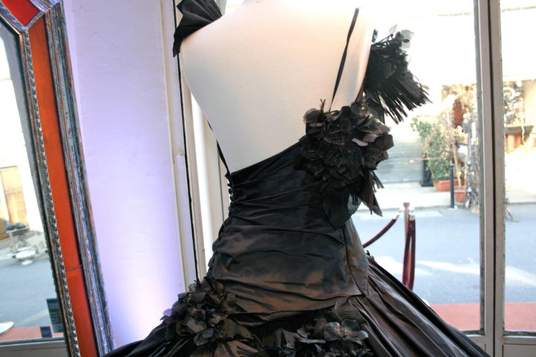 Torrente Haute Couture black taffeta jewel dress For Sale 2