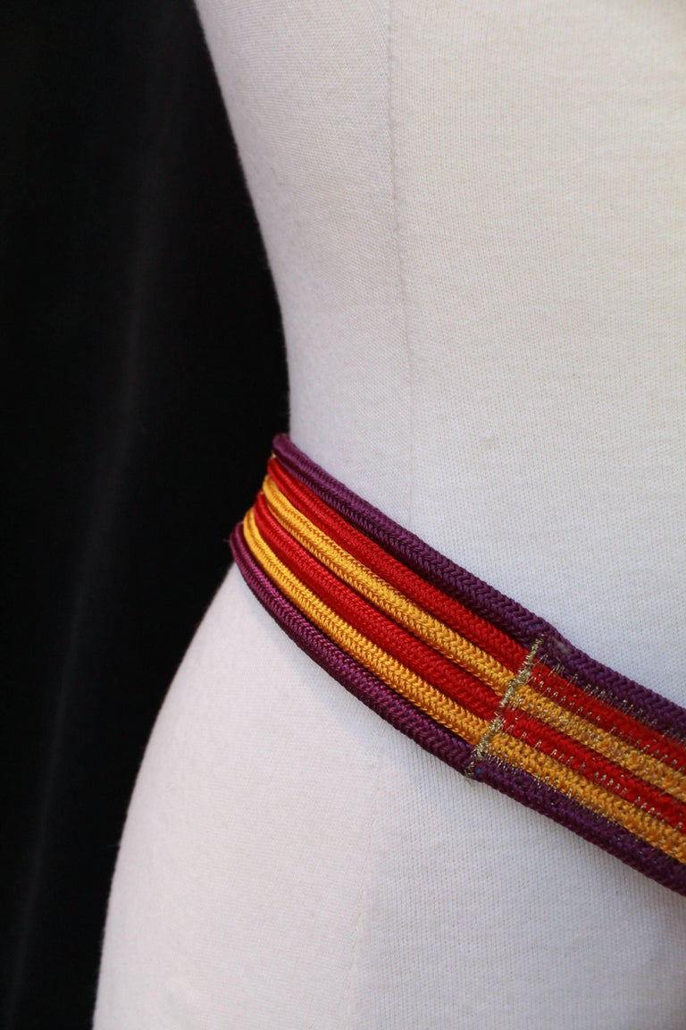 Women's 1970s Yves Saint Laurent Long Belt in Red Purple and Yellow Passementerie For Sale