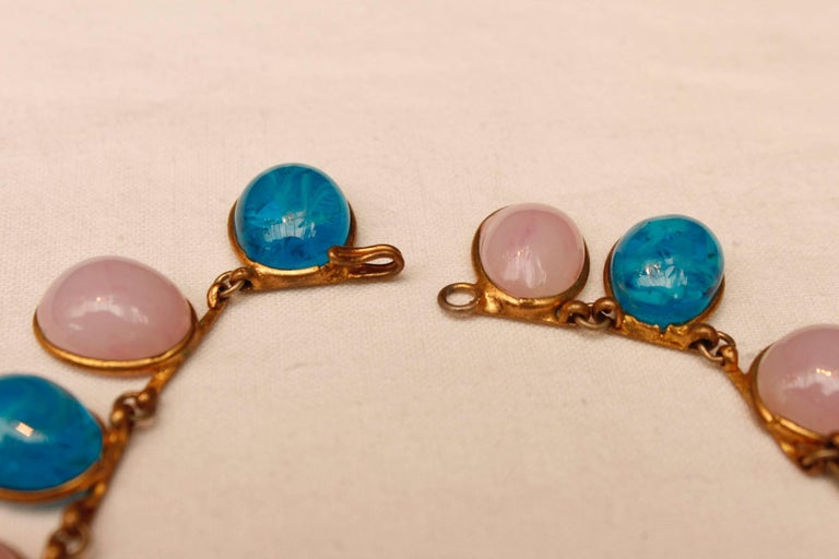 1960s Chanel Choker Composed of Pink and Blue Glass Paste Cabochons For Sale 3