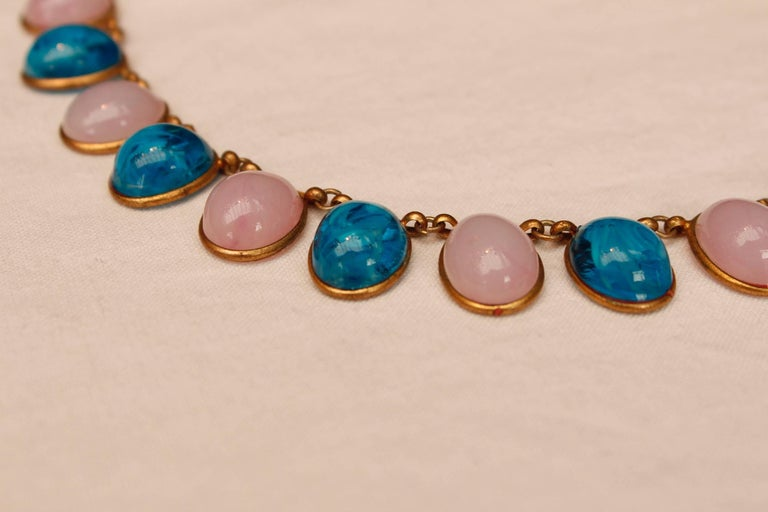 1960s Chanel Choker Composed of Pink and Blue Glass Paste Cabochons For Sale 1