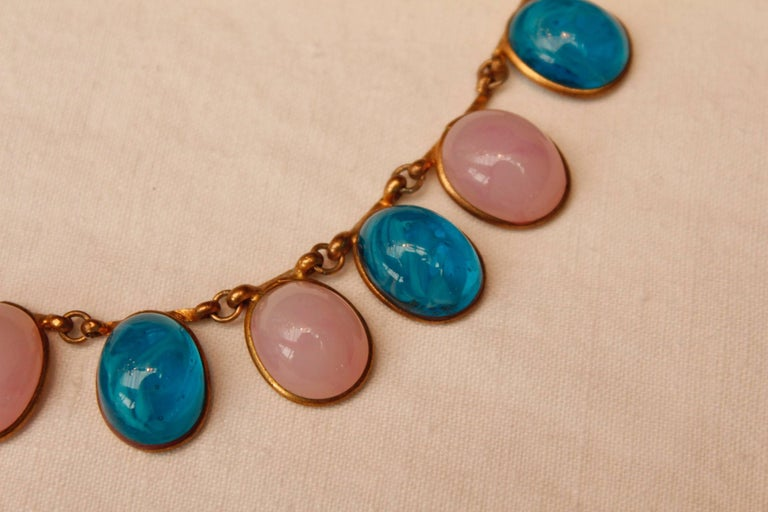 1960s Chanel Choker Composed of Pink and Blue Glass Paste Cabochons For Sale 2