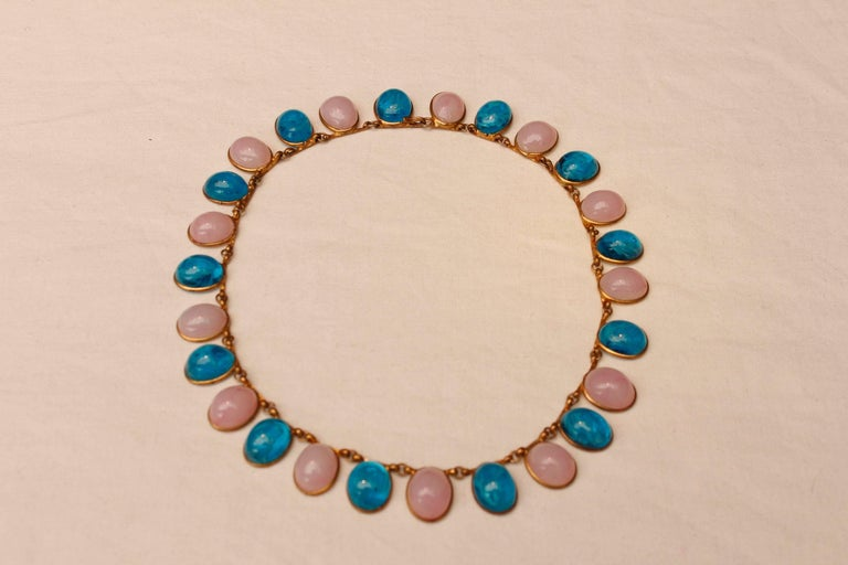 Women's 1960s Chanel Choker Composed of Pink and Blue Glass Paste Cabochons For Sale