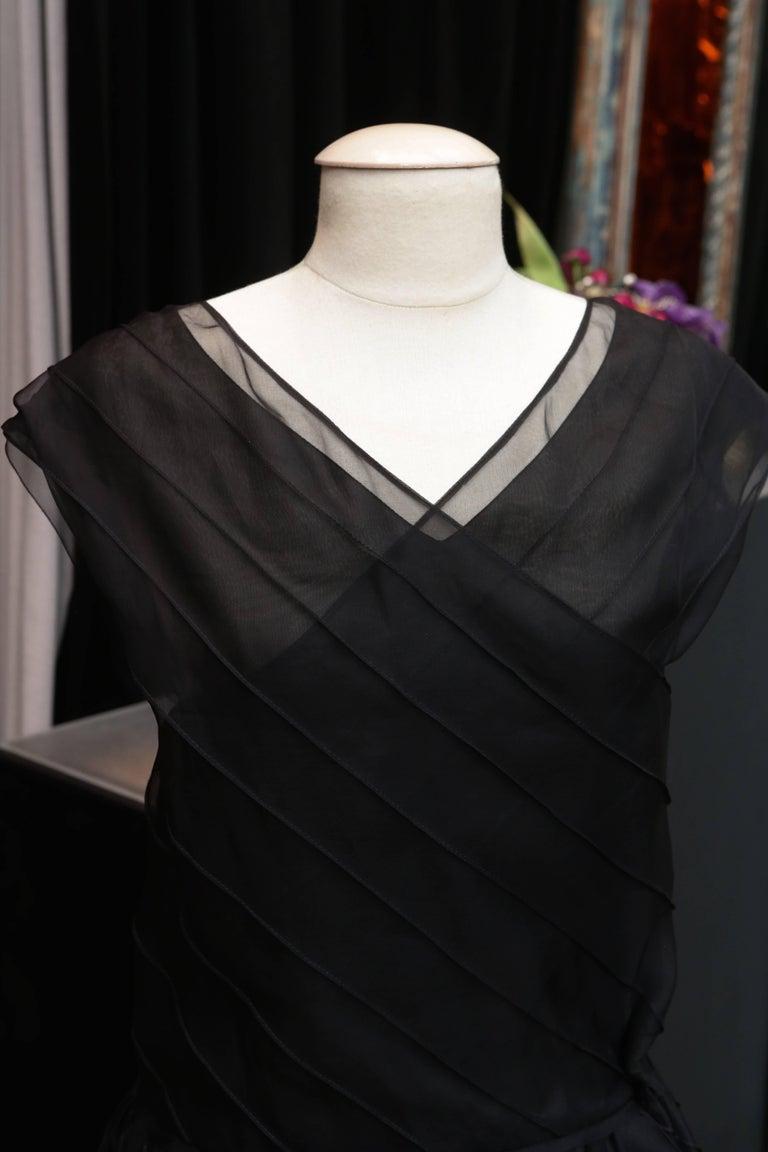 Chanel Long Black Silk Evening Gown Fall 1998  6