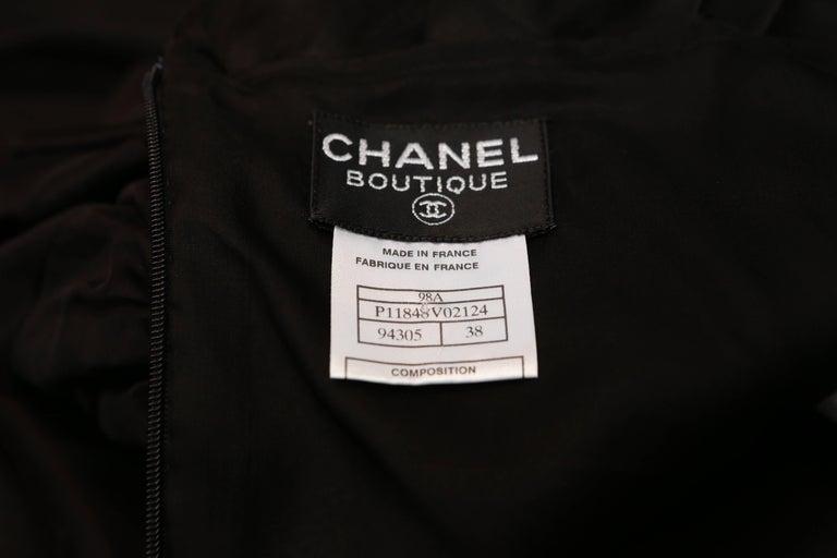 Chanel Long Black Silk Evening Gown Fall 1998  8