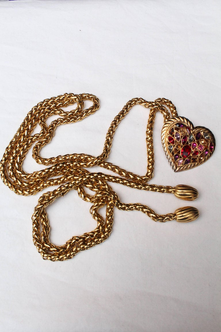 Women's 1990s Yves Saint Laurent jewel belt with heart For Sale