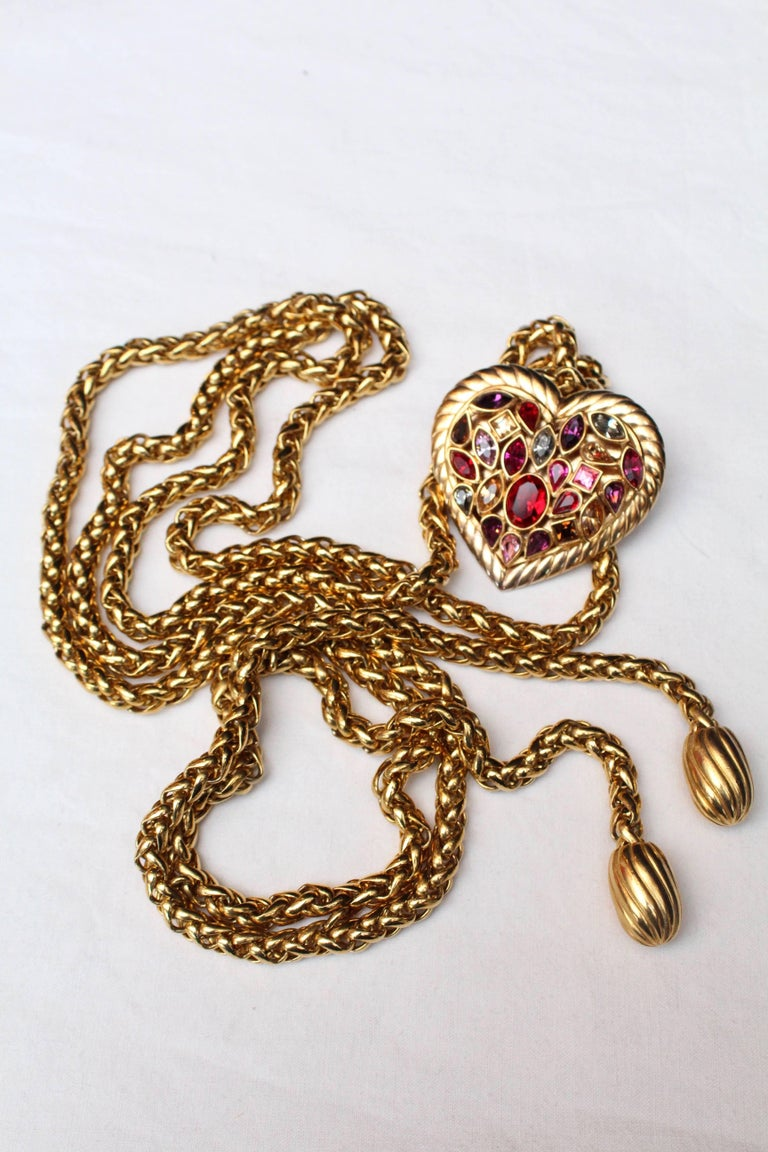 1990s Yves Saint Laurent jewel belt with heart For Sale 1