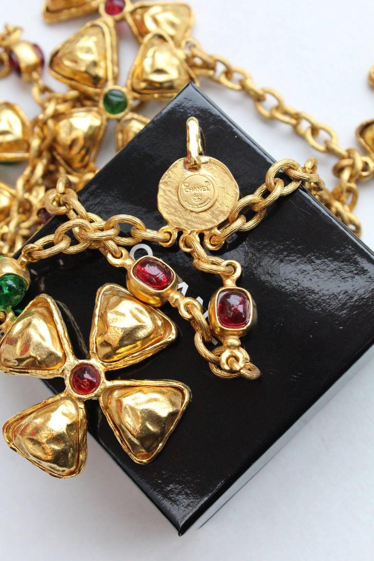 1980s Chanel gilded metal choker with Maltese cross pendants 6