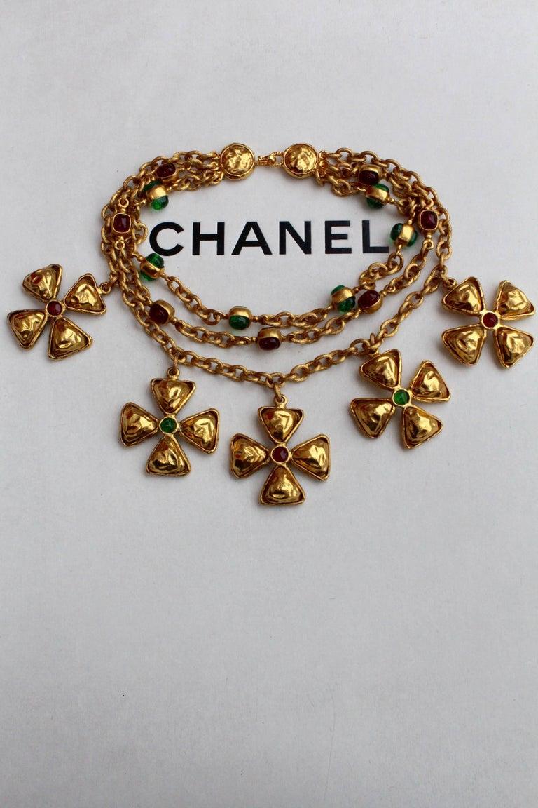 1980s Chanel gilded metal choker with Maltese cross pendants 4