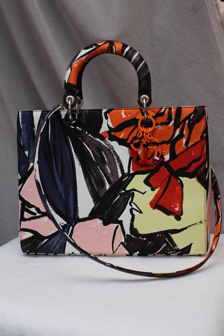Black 2015 Dior fabulous Lady Dior Floral Graffiti limited Edition by Raf Simons For Sale
