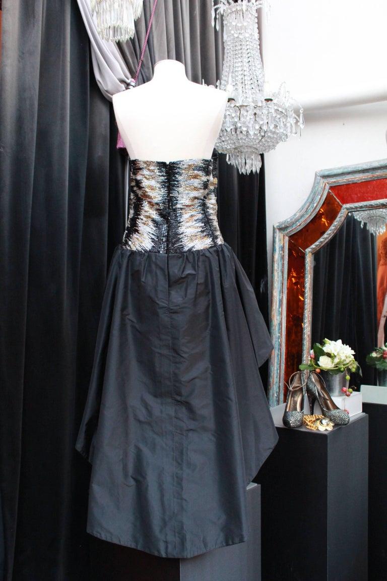 Black 1980s Loris Azzaro cocktail bustier dress For Sale