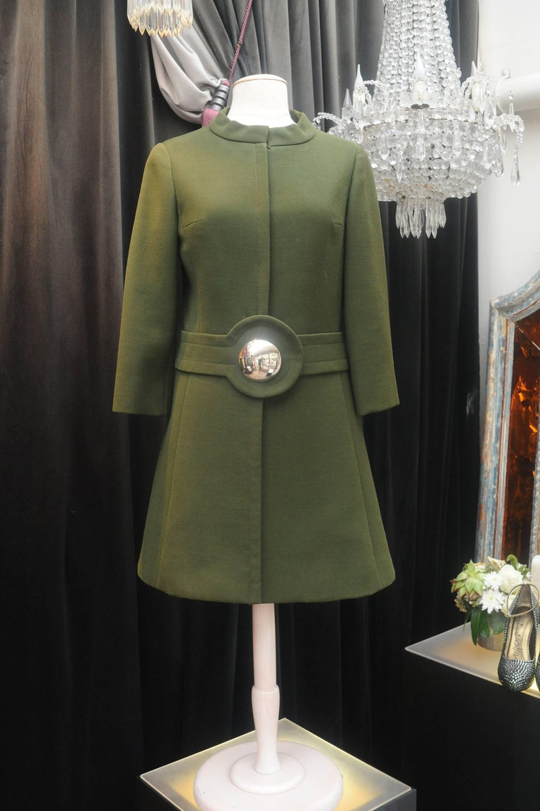 1960s Iconic Pierre Cardin khaki green coat 2