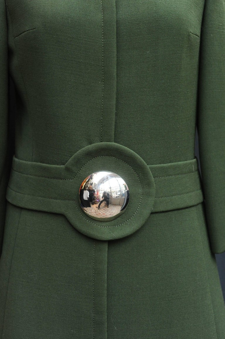 1960s Iconic Pierre Cardin khaki green coat 6