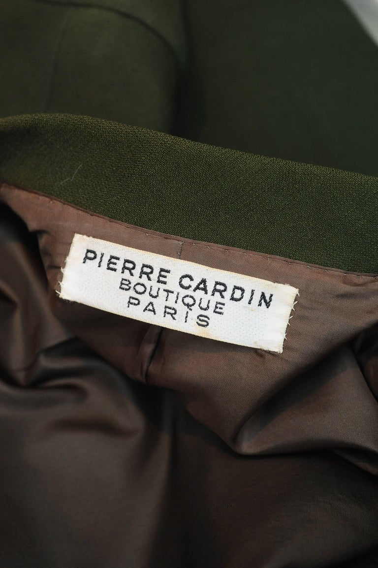 1960s Iconic Pierre Cardin khaki green coat 9