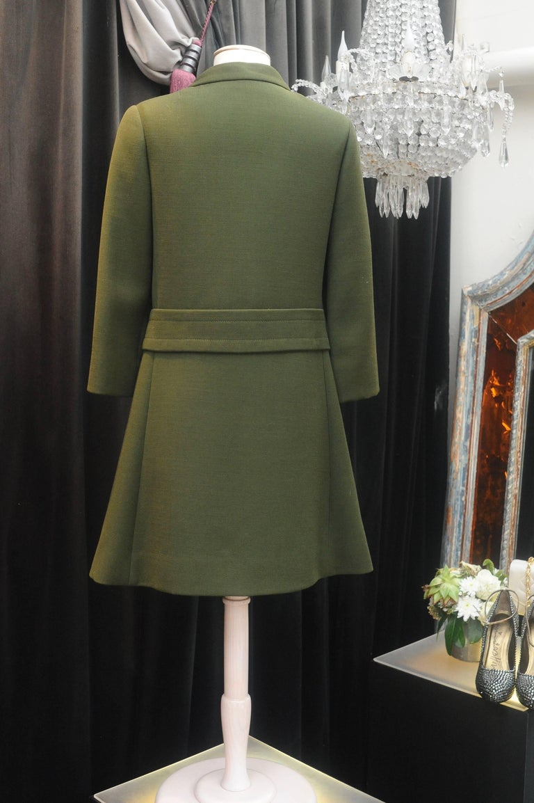 1960s Iconic Pierre Cardin khaki green coat 4