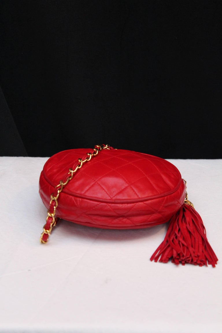 Chanel Small Red Quilted Leather Evening Bag 1990s In Excellent Condition For Paris