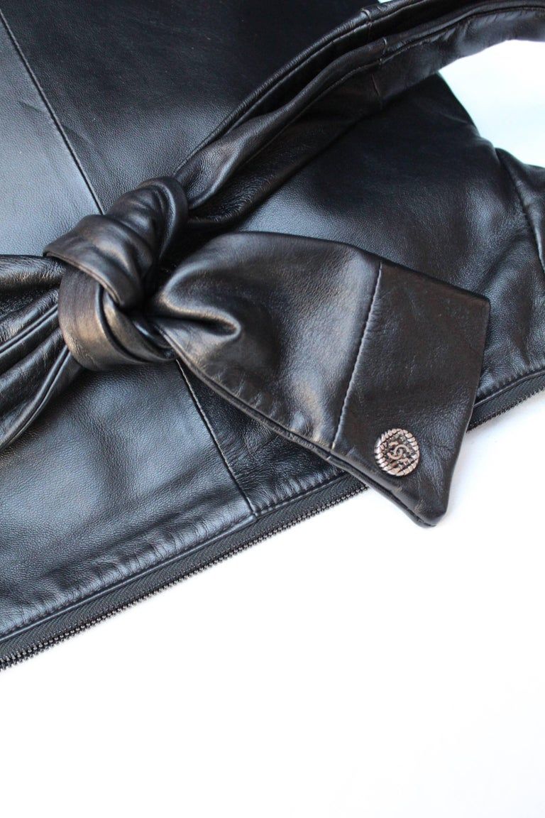"Chanel ""Girl"" black lambskin bag, Circa 2015  For Sale 4"