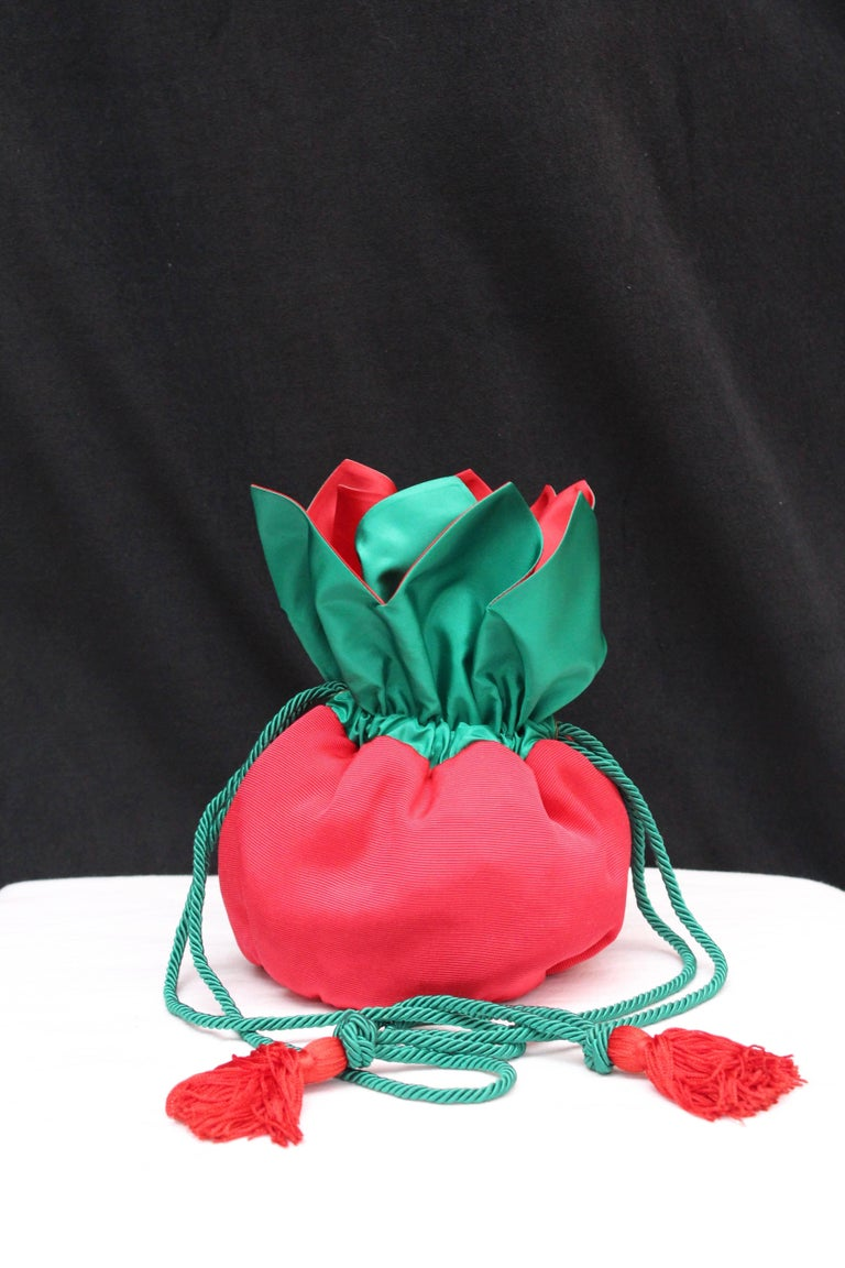 Red Yves Saint Laurent small red and green satin purse-shaped evening bag  For Sale